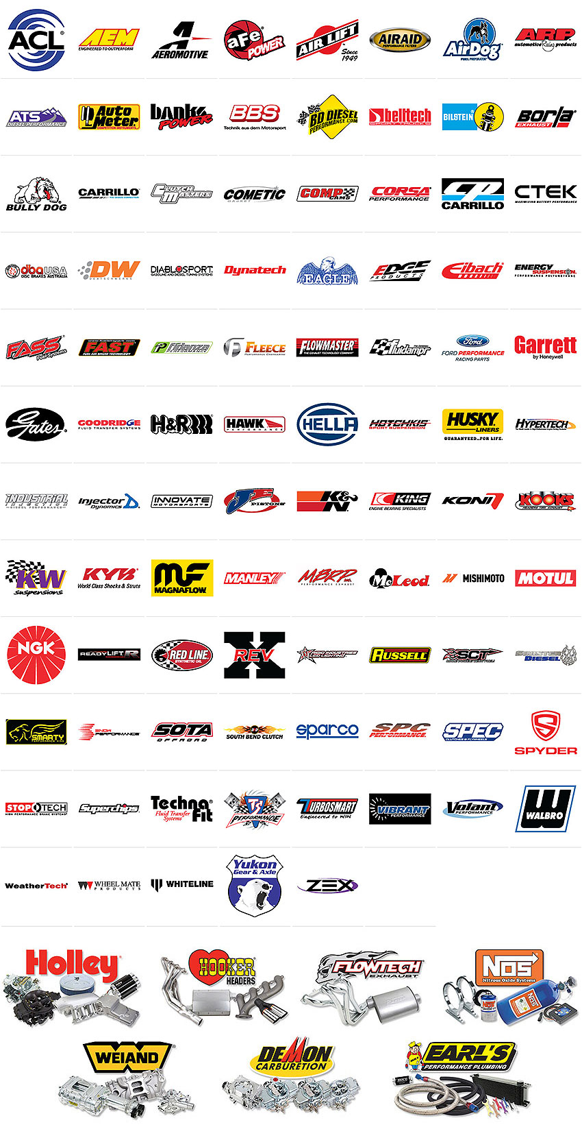 ACL, AEM, Aeromotive, aFe, Airaid, AirDog, ARP, ATS Diesel, AutoMeter, Banks Power, BD Diesel, Belltech, Bilstein, Borla, Bully Dog, Carrillo, Clutch Masters, Cometic Gasket, CORSA Performance, CP Pistons, CTEK, DBA, DeatschWerks, DiabloSport, Dynatech, Eagle, Edge, Eibach, Energy Suspension, FASS Fuel Systems, Fidanza, Fleece Performance, Flowmaster, Flowtech, Fluidampr, Ford Racing, Gates, Goodridge, H&R, Hawk Performance, Hella, Holley, Hooker, Hotchkis, Husky Liners, Hypertech, Industrial Injection, Injector Dynamics, Innovate Motorsports, JE Pistons, K&N Engineering, King Engine Bearings, KONI, Kooks Headers, KW, KYB, Magnaflow, Manley Performance, MBRP, McLeod Racing, Mishimoto, Motul, NGK, Range Technology, ReadyLift, Red Line, REV-X, Rigid Industries, Russell, SCT Performance, Sinister Diesel, Smarty, Snow Performance, SOTA, South Bend Clutch, SPARCO, SPC Performance, SPEC, Stoptech, Superchips, Technafit, TS Performance, Turbosmart, Vibrant, Volant, Walbro, WeatherTech, Wheel Mate, Whiteline, Yukon Gear & Axle